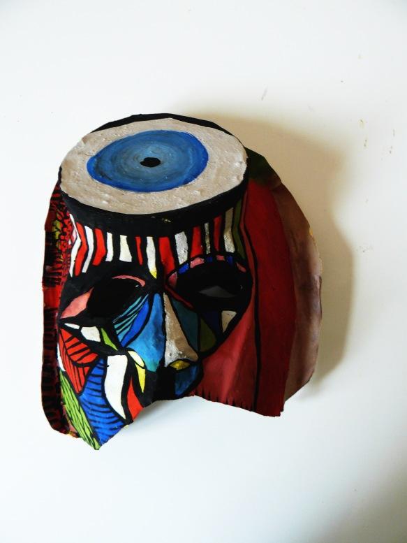 Masque en papier maché, gouache( ramataupia)